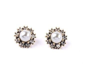 Royal Pearl & Crystal Antique Gold Stud Earrings