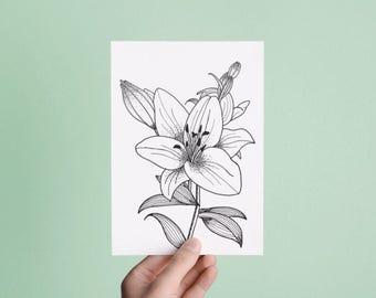 Handmade / Hand drawn Lily Flower Greetings Card