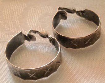 Anniversary Sale Vintage Silvertone Hoop Clip Earrings