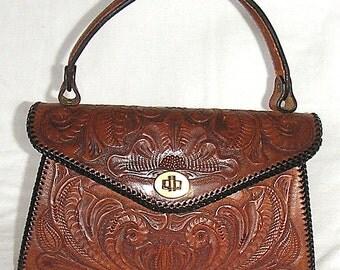 Brown Tooled Leather Handbag
