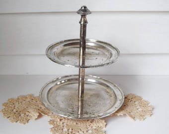 Silver Plated Tiered Tray Vintage two Tiered Party Serving Dessert Tray