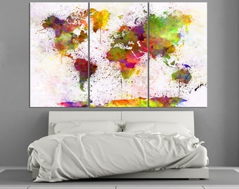 Large Colorful Watercolor World Map Canvas Print, Modern world map, colorful / 1 - 5 Panels on Canvas Wall Art for Home & Office Decoration