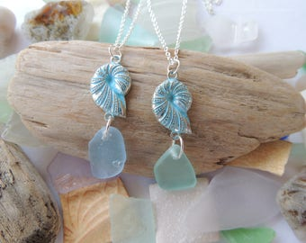 Aqua or Light Blue Sea Glass with Shell Charm Necklace, Authentic Sea Glass, Sterling Silver Chain