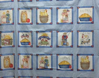 Country Squares/Blue Check/Cotton Fabric