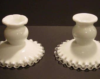 Fenton Silver Crest Single Light Candlesticks, Candle Holders, Milk Glass, Ruffled, Vintage
