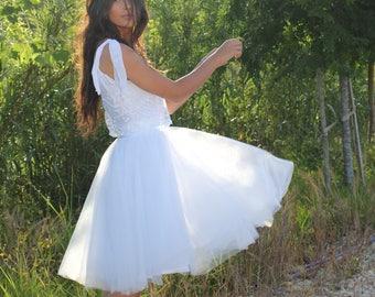 White Wedding Dress, Boho Wedding Dress, Beach Wedding Dress, Tulle Wedding Dress, Bohemian Wedding Dress, Crop Top Wedding Dress, Gown