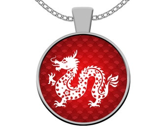 Year of the Dragon Necklace - Chinese Zodiac Silver Pendant Charm - Born in Year 1928, 1940, 1952, 1964, 1976, 1988, 2000, 2012