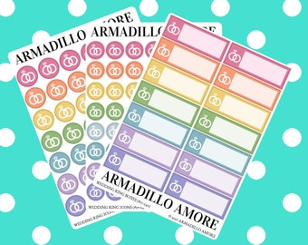 Wedding Ring Reminders, Choose Icons or Boxes {14+ Fancy Matte or Glossy Planner Stickers, Double Rainbow} | #17-240