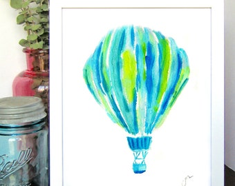 Blue and Green Hot Air Balloon Watercolor Print - Kids Room Decor - Nursery Room Decor - Baby Shower Gift - Gift for Her - Gift for Him