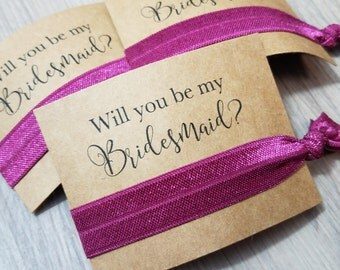 Will You Be My Bridesmaid Favors | Bachelorette Party Favors | Bridesmaid Proposal | Bridesmaid Gift | Hair Tie Favors