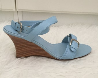 Vintage 90s Fioni Blue Wedges Strappy Sandals Size 8.5