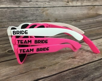 Team Bride ADULT Personalized Sunglasses, Bachelorette Party Favor, Bach Bash Favor, Girls Weekend, Last Night Out, Bridal Party Gift