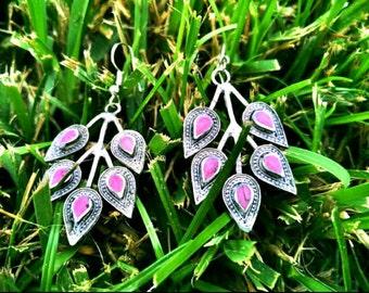 Leaf Shape Vintage Handmade Earrings Afghan Kuchi Tribal Jewelry Boho Gypsy Belly Dancing Hoop Earrings Ethnic Indian Banjara Earrings Gift.