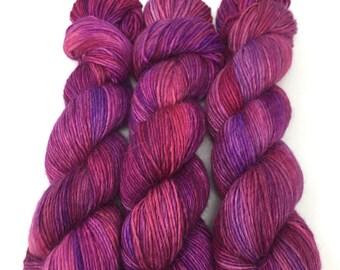 Hand Dyed Yarn - Alpaca/Merino/Silk -  DK - Berry Pie