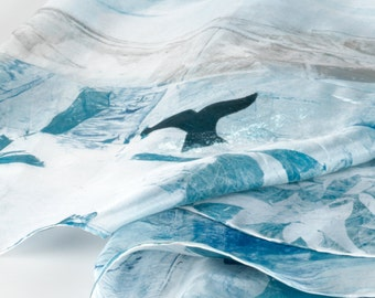 Women's Blue 100% silk scarf, Hand painted nordic scene of mountains, whales and boats