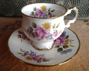 Elizabethan English bone china cup and saucer in roses pattern