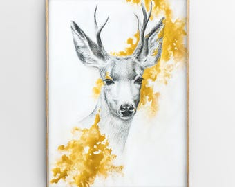 Original Mixed Media Animal Portrait, Deer Drawing with Golden Acrylic Paint