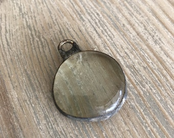 Soldered Clear Glass pendant-jewelry supplies-soldered stone-DIY-necklace supplies-pendants