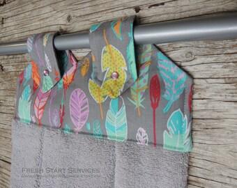 Feather Hanging Towel - Kitchen Towel -  Retro Tea Towel - Kitchen Decor - Gifts for Her - Hanging Kitchen Towel - Engagement Gift