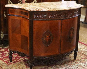 Best French Carved Walnut Marble Top Louis XV Buffet Server Sideboard Inlaid