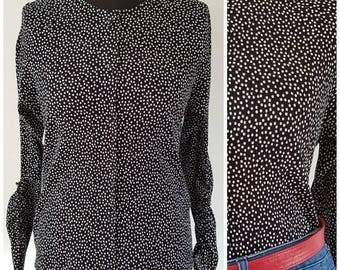 Vintage Jaeger blouse | Black and white polka dot pattern | UK Size 12
