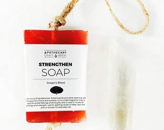 Soap - STRENGTHEN / Dragon's Blood • Bar Soap, herbal soap, natural soap, all natural, dragons blood soap, soap with loop handle