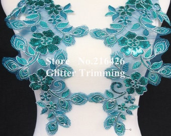 1pair=2pcs Sew-on Teal Blue/Silver Flower Embroidery Mirror Pair Sequins Lace Appliques Trims Patches BNC112A