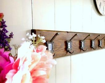Vintage Style Solid Wood Rustic Pine Coat Rack Cast Iron school style Hooks
