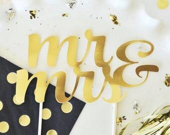 Gold Cake Topper- mr & mrs cake topper, one cake topper, wedding cake topper, engagement cake topper