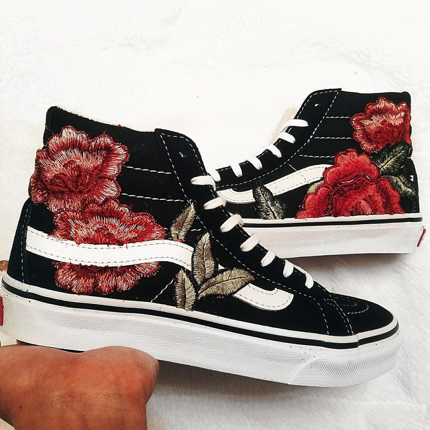 Womens custom rose floral embroidered patch vans sk hi slim