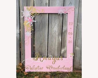 Child birthday photo prop giant frame for photo booth, winter wonderland, onederland, kid's first birthday party prop