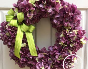 Hydrangea Wreath, Lavender Wreath, Everyday Wreath, Door Wreath, Spring Wreath, Summer Wreath, Wreath Street Floral