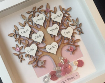 Personalised Family Tree ANY COLOUR Box Frame. Button Detail. Perfect gift for mothers day, birthday, new home, wedding