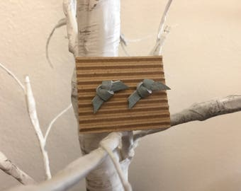 Seafoam blue leather knot earrings