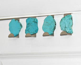 TURQUOISE HOOK - Over-the-Door - Stainless Steel & Turquoise Stone - Natural Décor