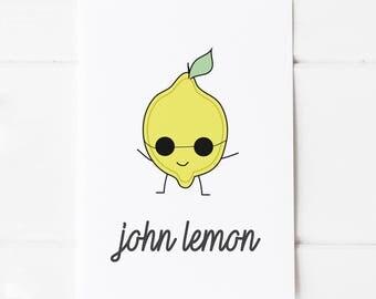 John Lennon Pun Postcard Print