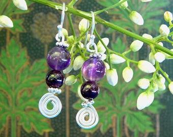 Amethyst and Garnet Silver Earrings