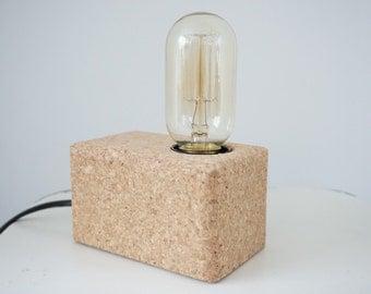 """Industrial table Lamp """"Cork"""" (carbon lamp-filament lamp-table lamp-lamp block-desk lamp)"""