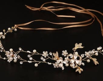DAHLIA | Gold or Silver Bridal Headband with Flowers and Pearls - Free Shipping