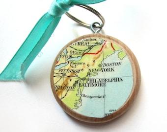 World map keychain - North America variations