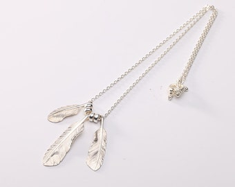 Silver Feather Necklace | Native American Inspired | Silver Feather Pendant | Feather Jewelry | Feather Charm Necklace | Eagle Feather Charm
