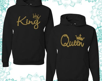 Gold King and Queen unisex hoodie - best couples hoodie - unisex hoodie - gift for her and for him - couples apparels