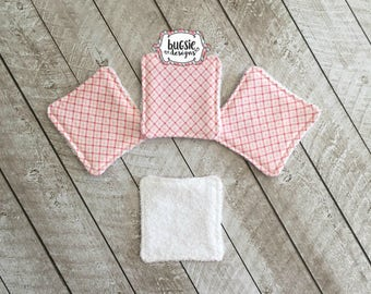 pink plaid reusable cotton square, cotton round, facial care, personal care, makeup remover pads, facial pad, , face scrubbie, ecofriendly