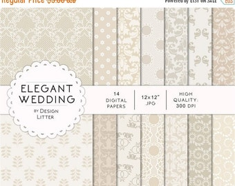 80% Until New Year - Wedding digital papers · white and cream wedding damask background and lace for wedding invites, save the date cards an