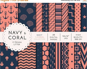 80% Until New Year - Navy blue and coral digital papers · navy blue peach nautical backgrounds with anchor, shells, beehive for scrapbooking