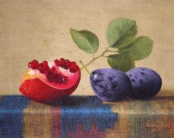 Still Life, Kitchen art, oil Painting, Fruits, Original Handmade art, Classic art, One of a Kind