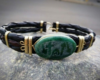 Green jadeite jade and black leather bracelets