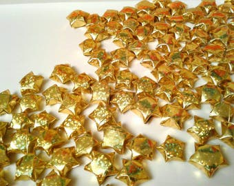 100 Gold origami stars. (Holographic)