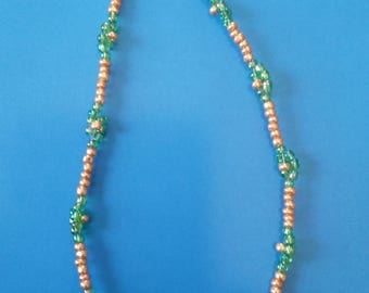 Rose Gold and Green Beaded Necklace