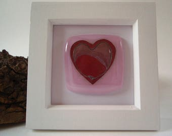 Copper Heart in Pink fused glass